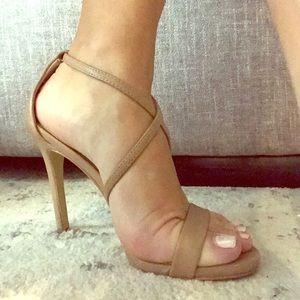 Steve Madden Nude Cross Foot Strappy Heels, Size 7